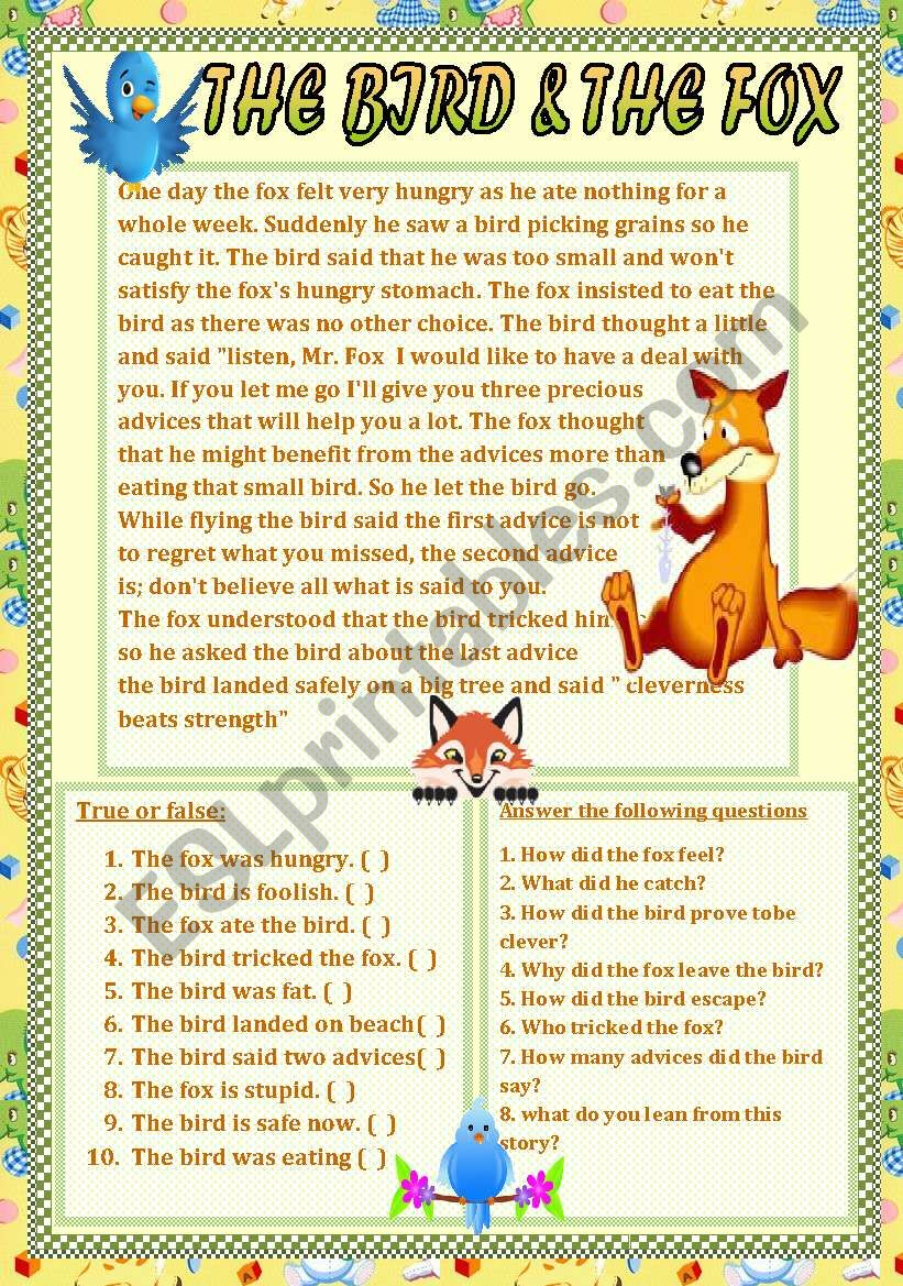 The bird and the fox worksheet