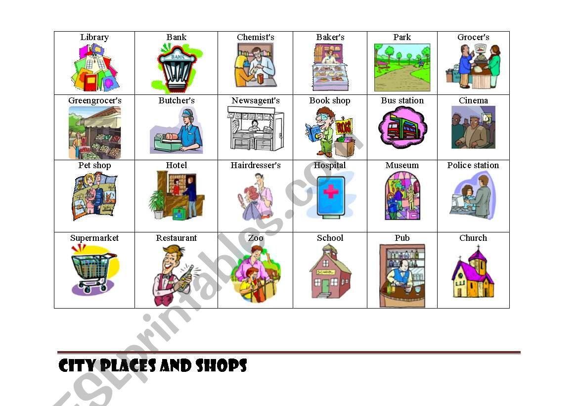 Shops and places in a city worksheet