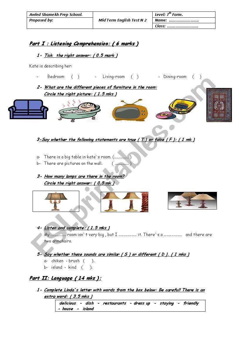 Mid-Term English Test N2 worksheet