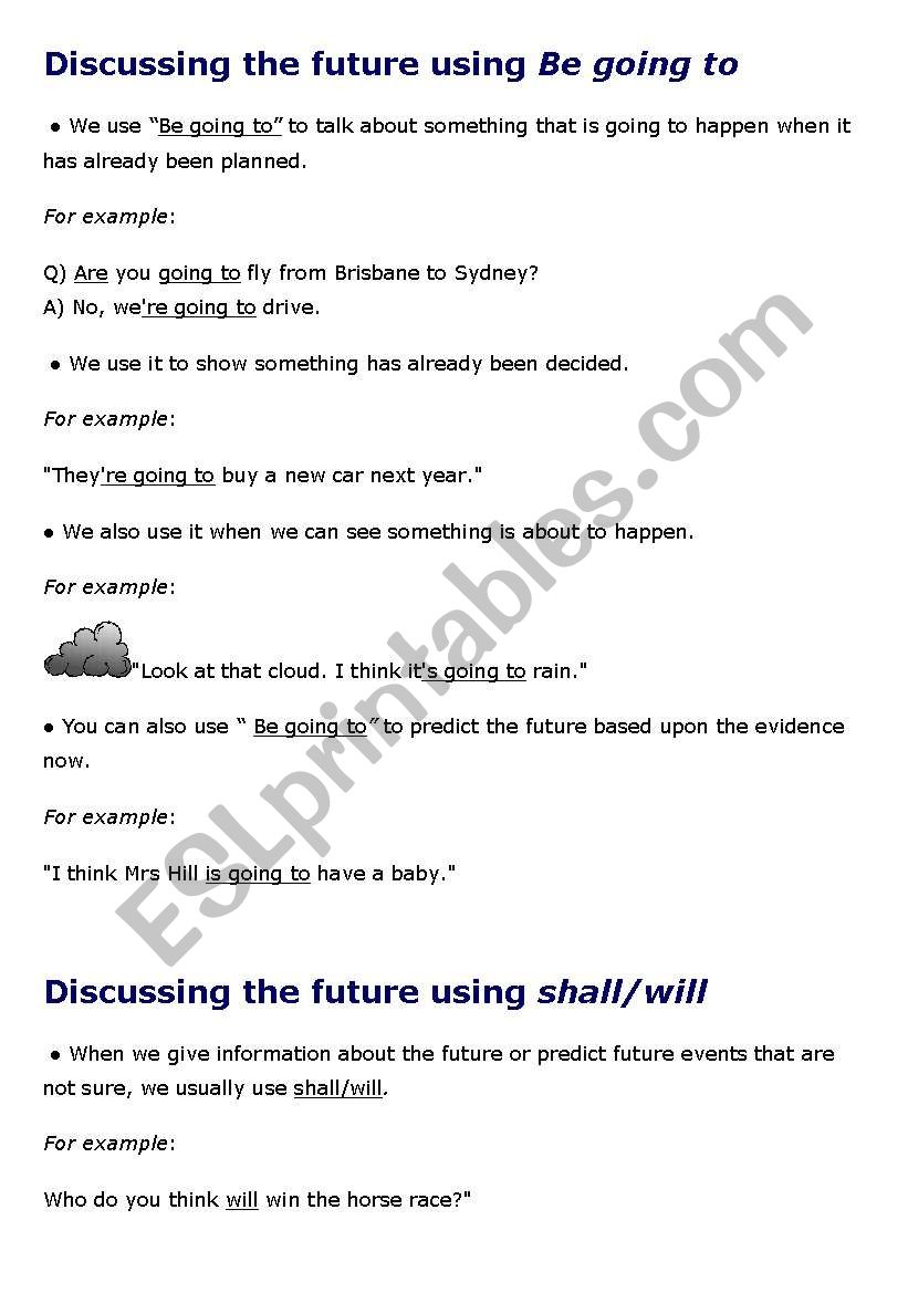 Discussing the future worksheet
