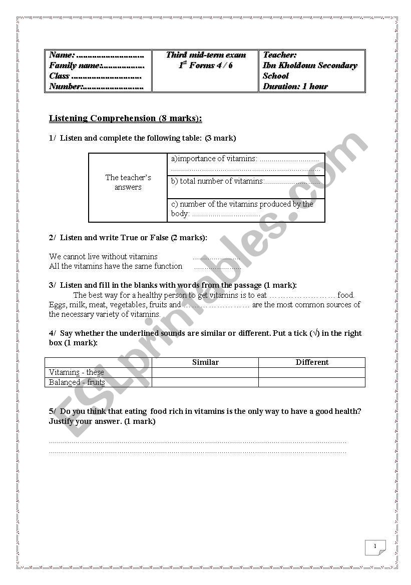 1st form 3rd mid term exam worksheet