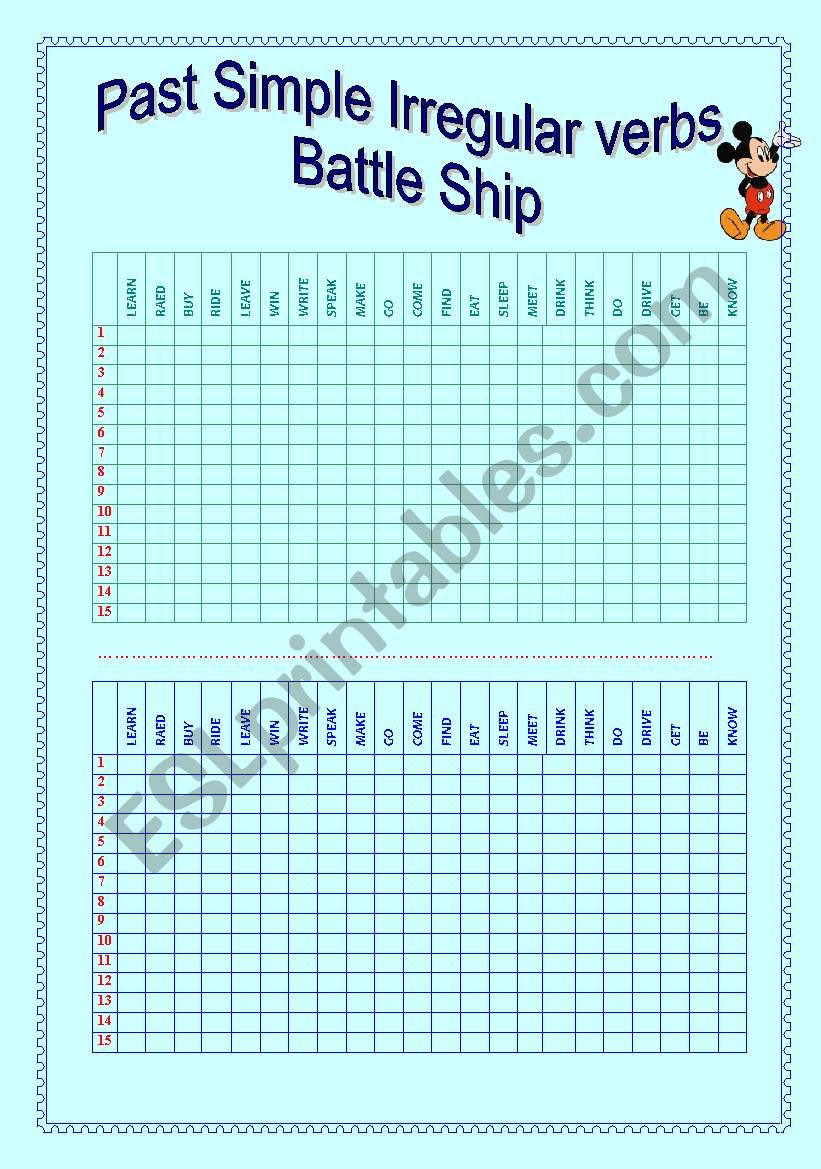 PAST SIMPLE IRREGULAR VERBS BATTLE SHIP GAME