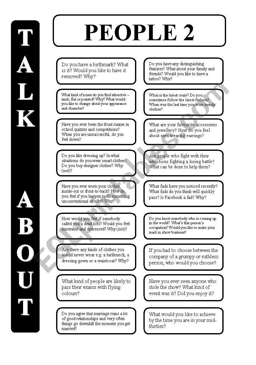 People -part 2 - 18 conversation cards - upper-intermediate level (editable)