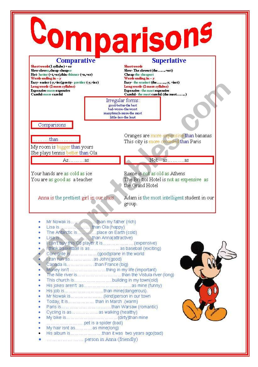 ADJECTIVES -superlative and comparative forms