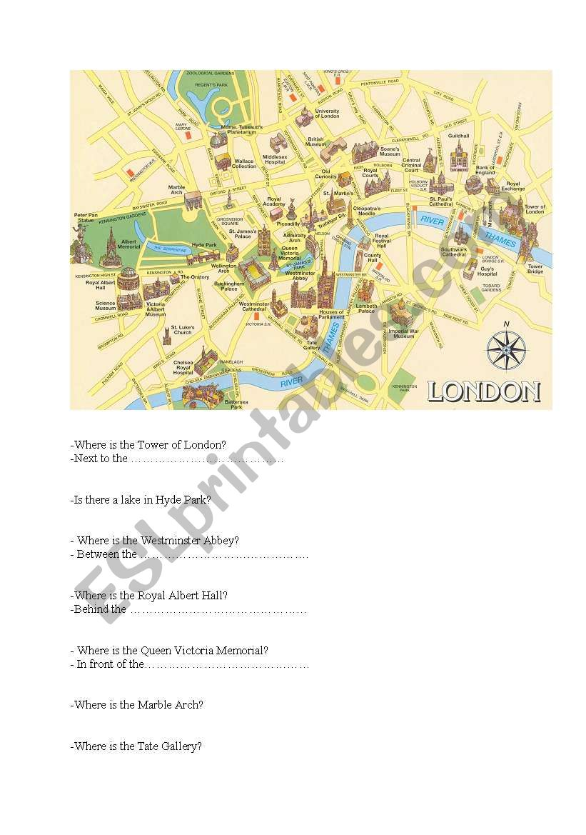 Where Is London Map.London Map Esl Worksheet By Niko 13