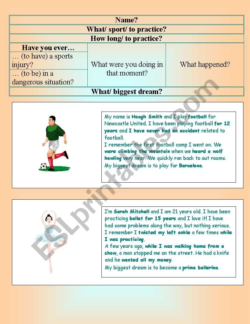 sports role play worksheet
