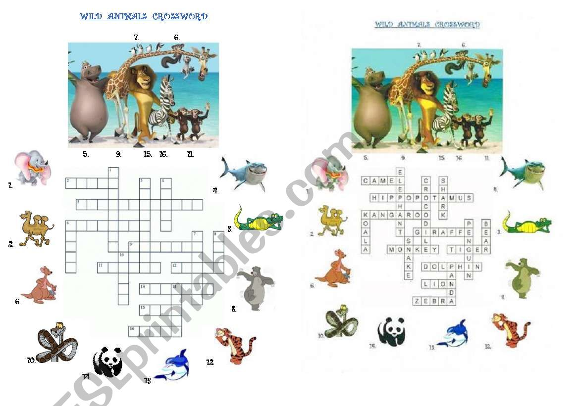 Wild animals crossword with numbers and key