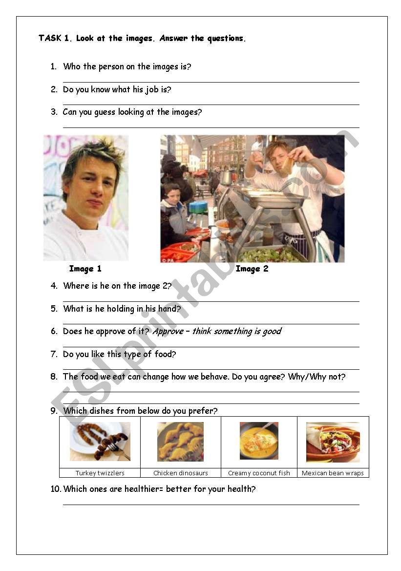 Jamie Olivers School Dinners Reading Comprehension Esl