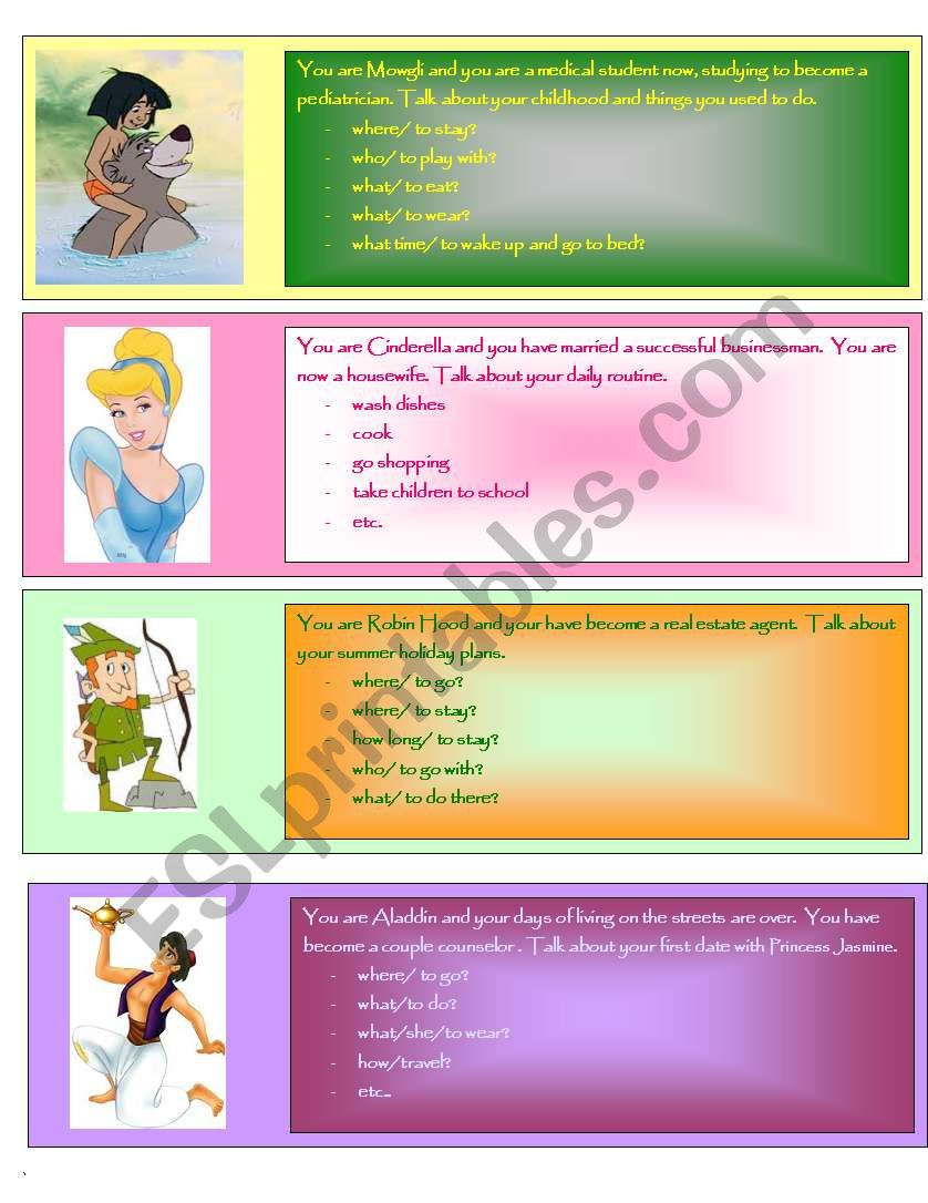 Disney stories role play worksheet