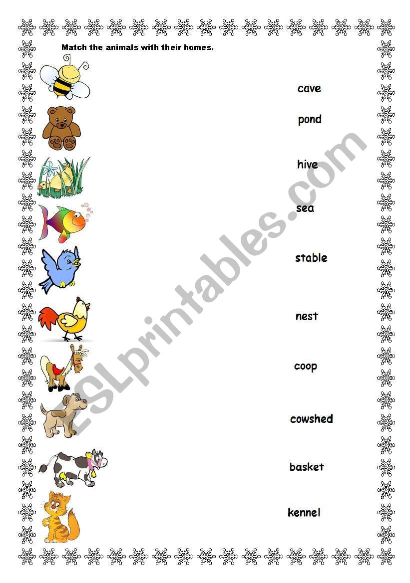 worksheet Animals And Their Homes Pictures Worksheets english worksheets animals and their homes worksheet