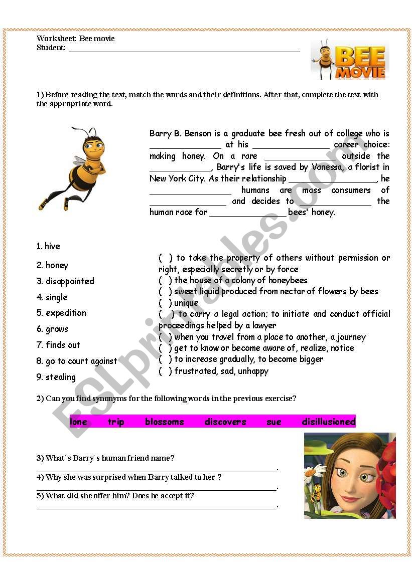 Bee movie -  film activity worksheet