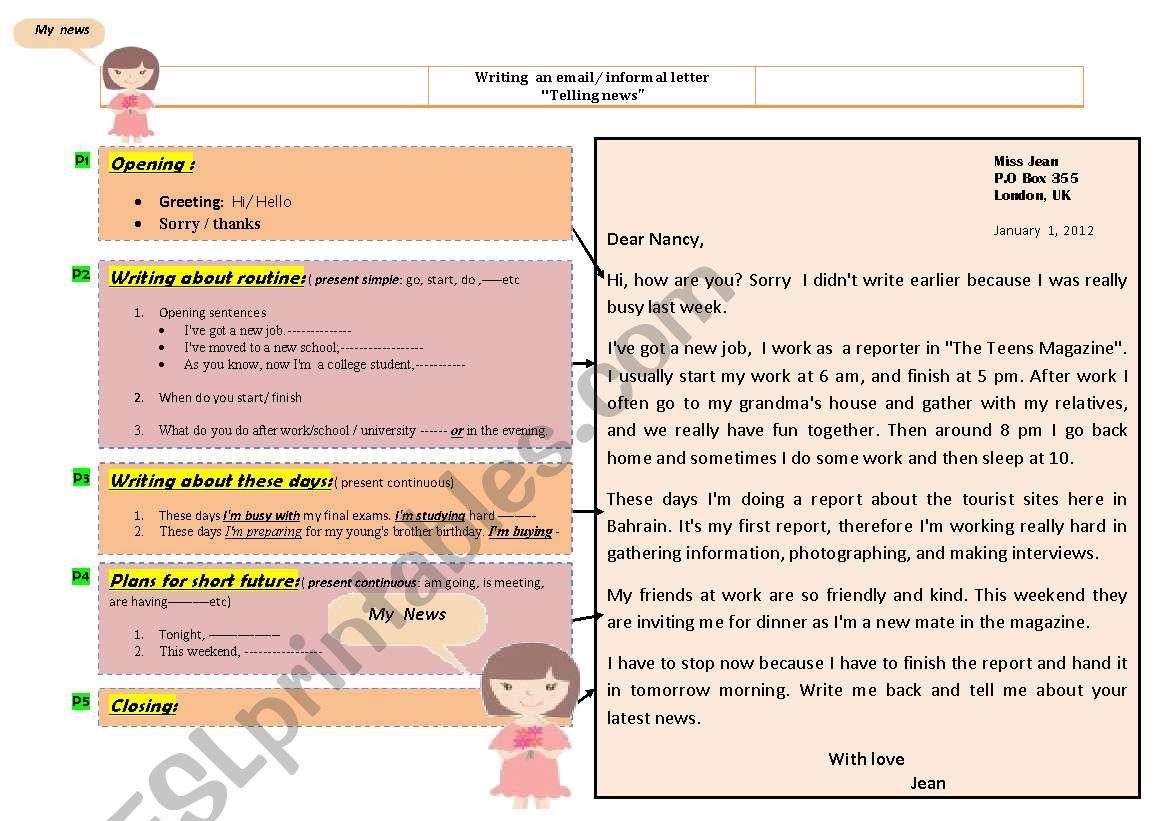 Informal letter - Letter of News