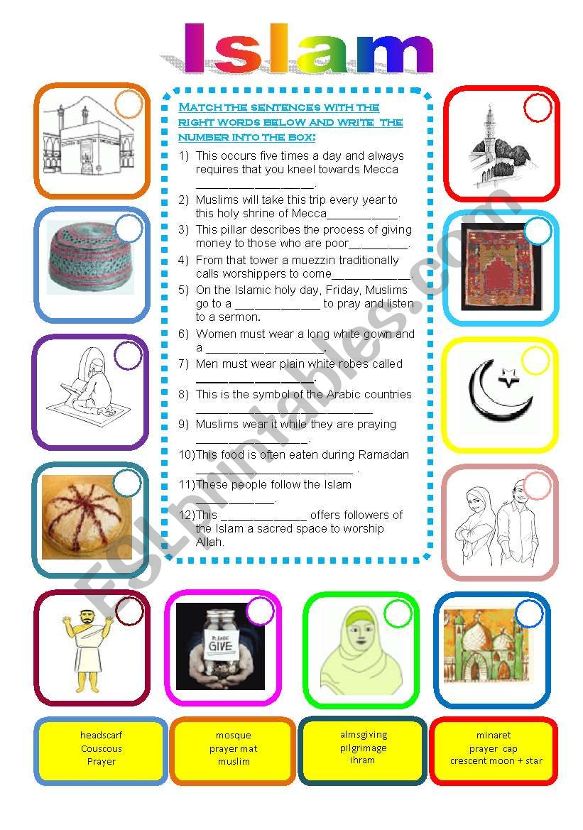 Islam -Match the sentences worksheet