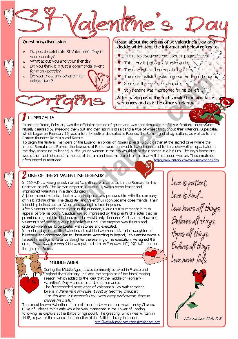 St Valentine´s Day worksheet