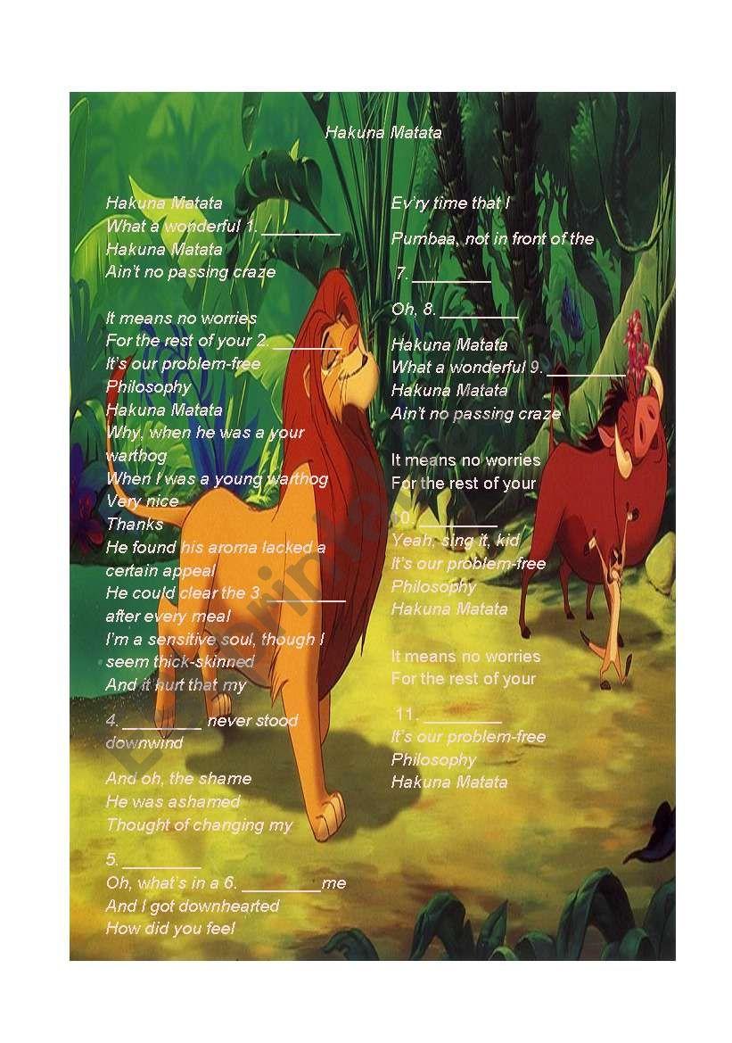 music hakuna matata- the lion king