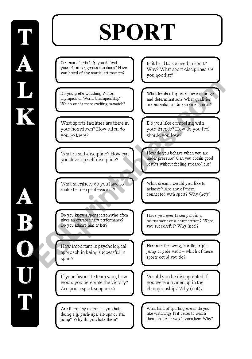Sport - 18 conversation cards - upper-intermediate level (editable