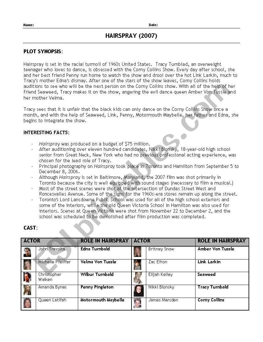 HairSpray Musical worksheet