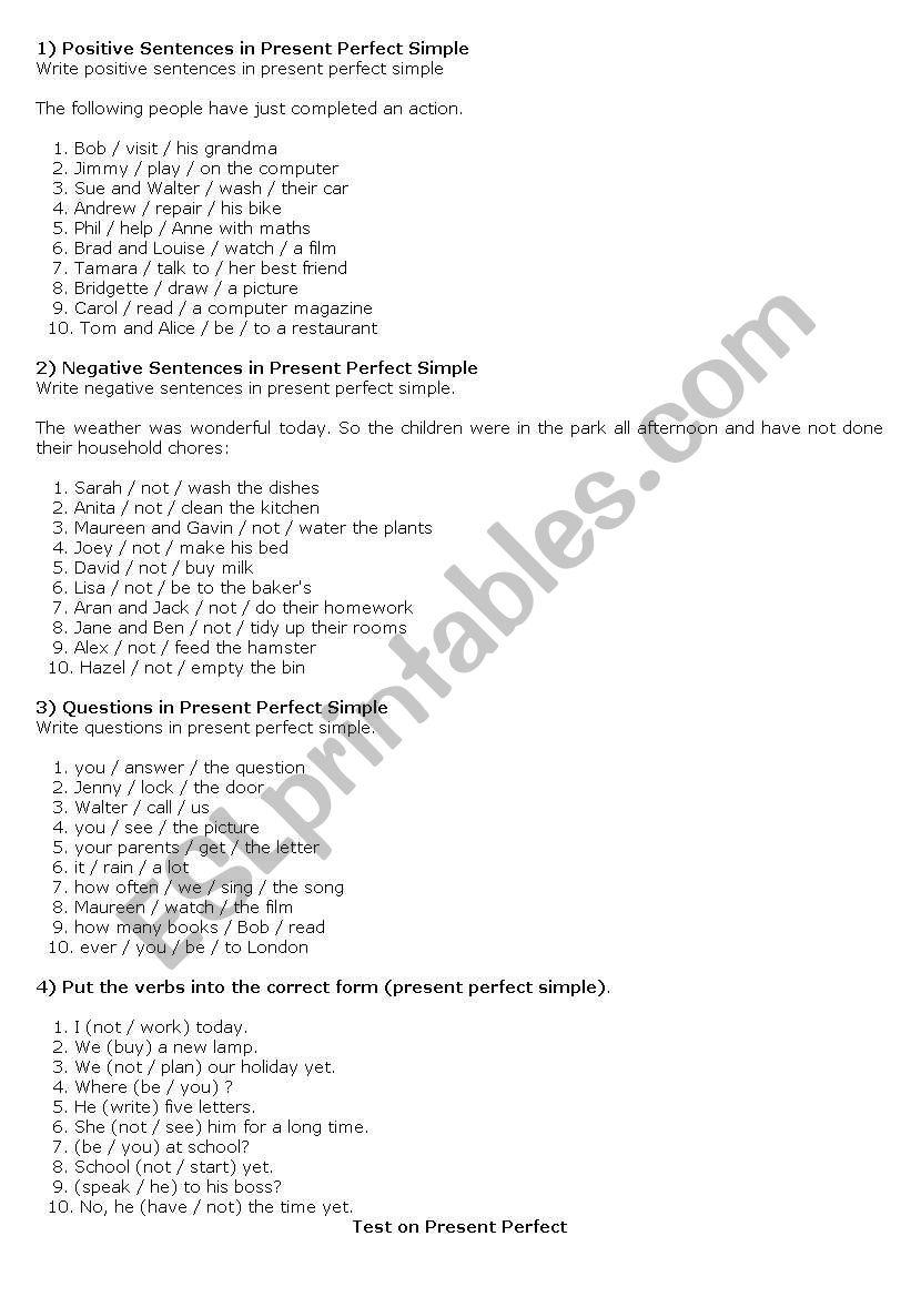 Present Perfect Simple worksheet
