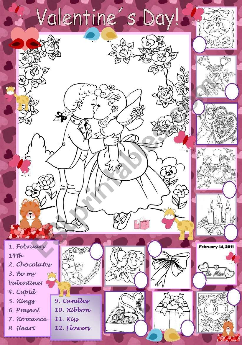 Valentine´s Day - Coloring and Matching