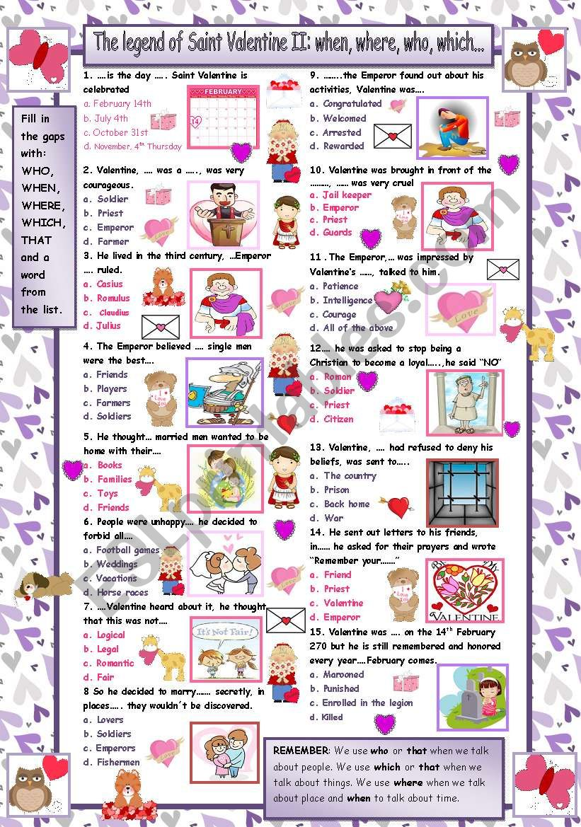 The legend of Saint Valentine II Quiz  Who, what, where