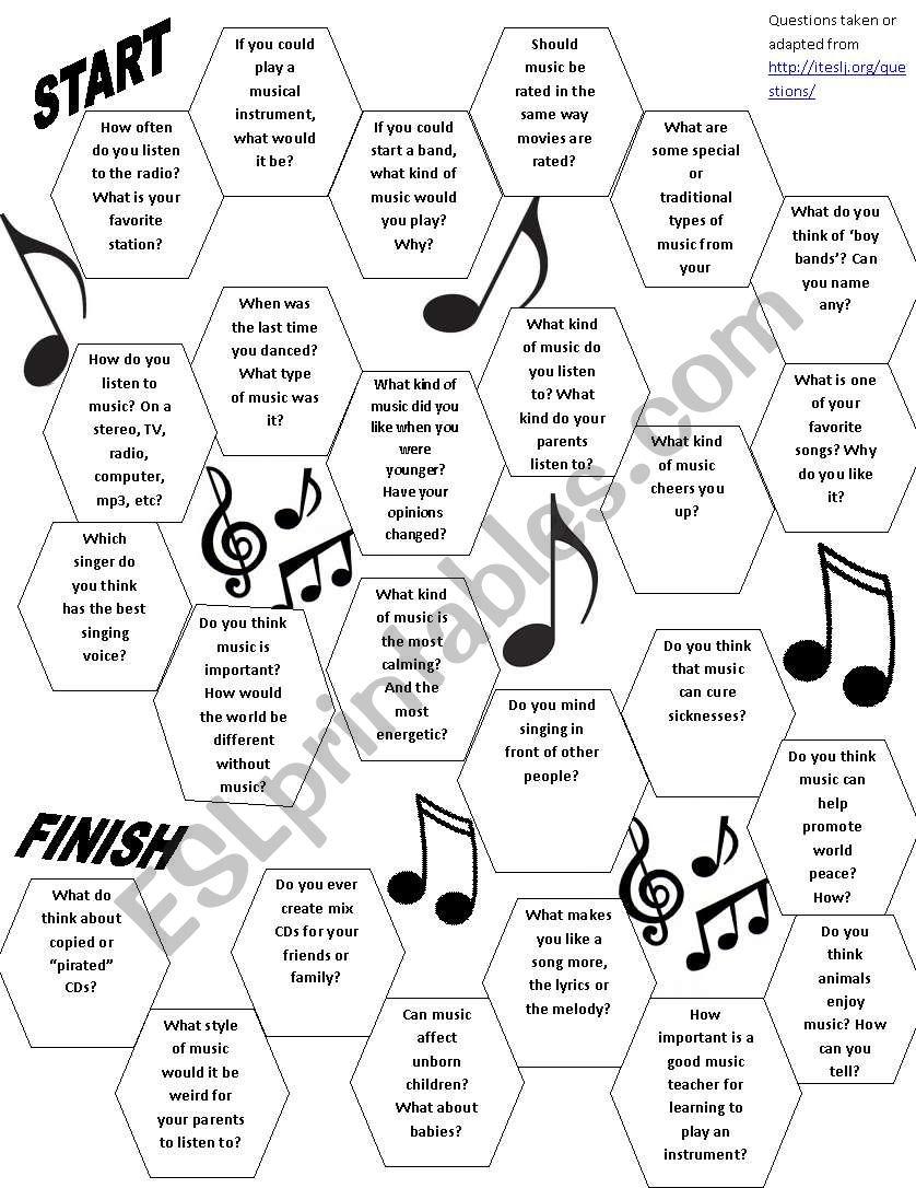 Music Conversation Board Game - ESL worksheet by jwendt