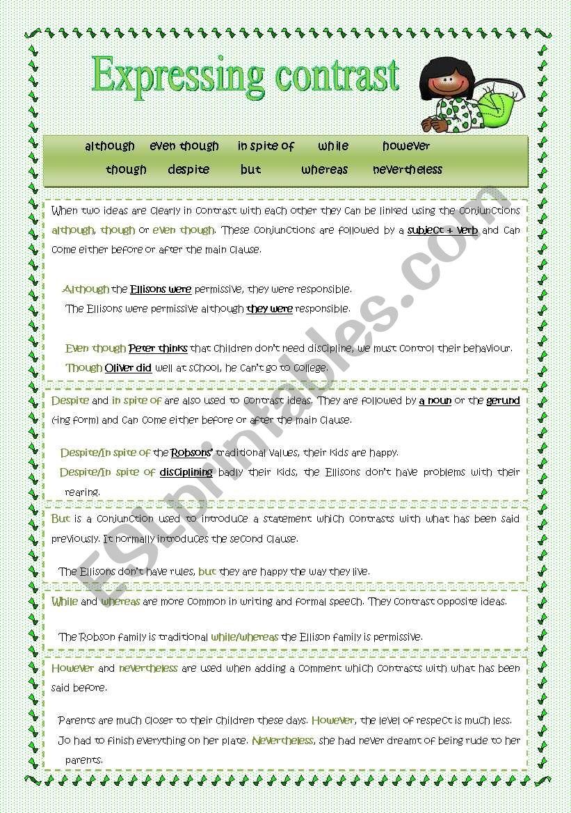 Expressing contrast worksheet