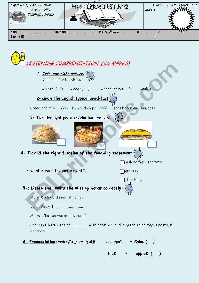mid term test 7th form 2 worksheet
