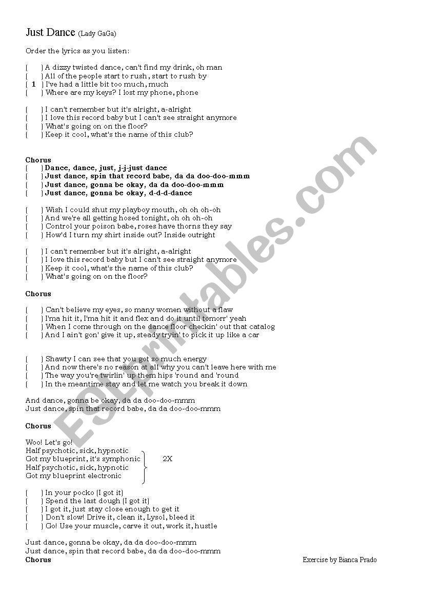 Dancelady Gaga WorksheetsJust English Song qzVSMUp