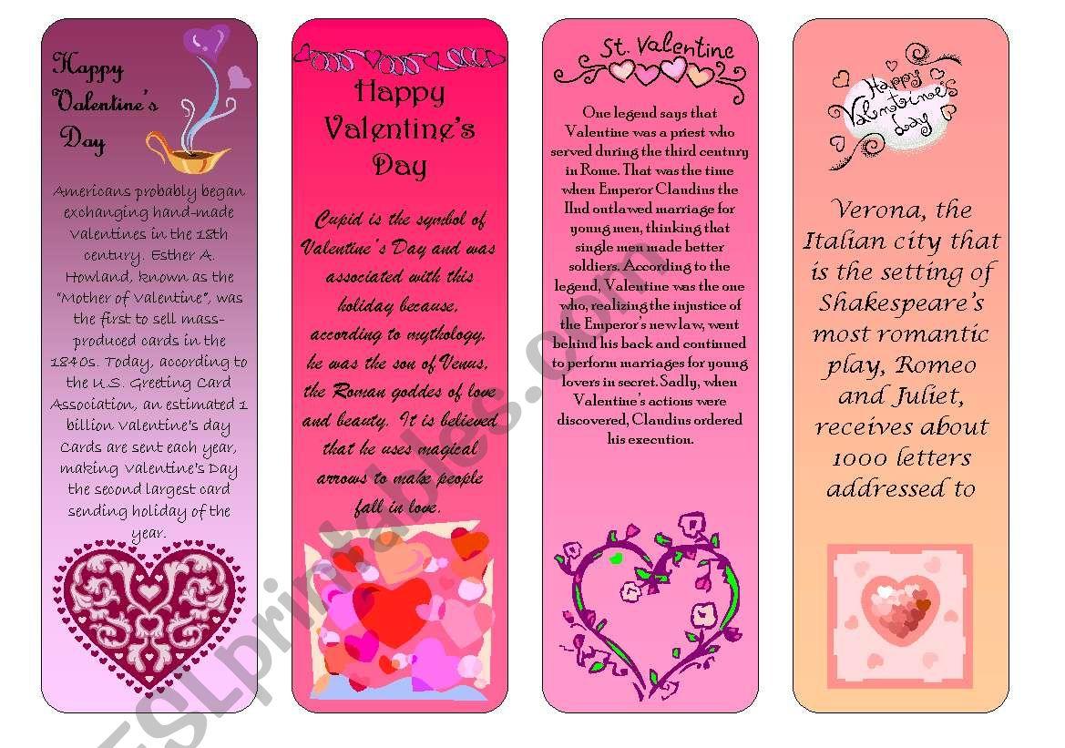 Valentine´s Day bookmarks worksheet