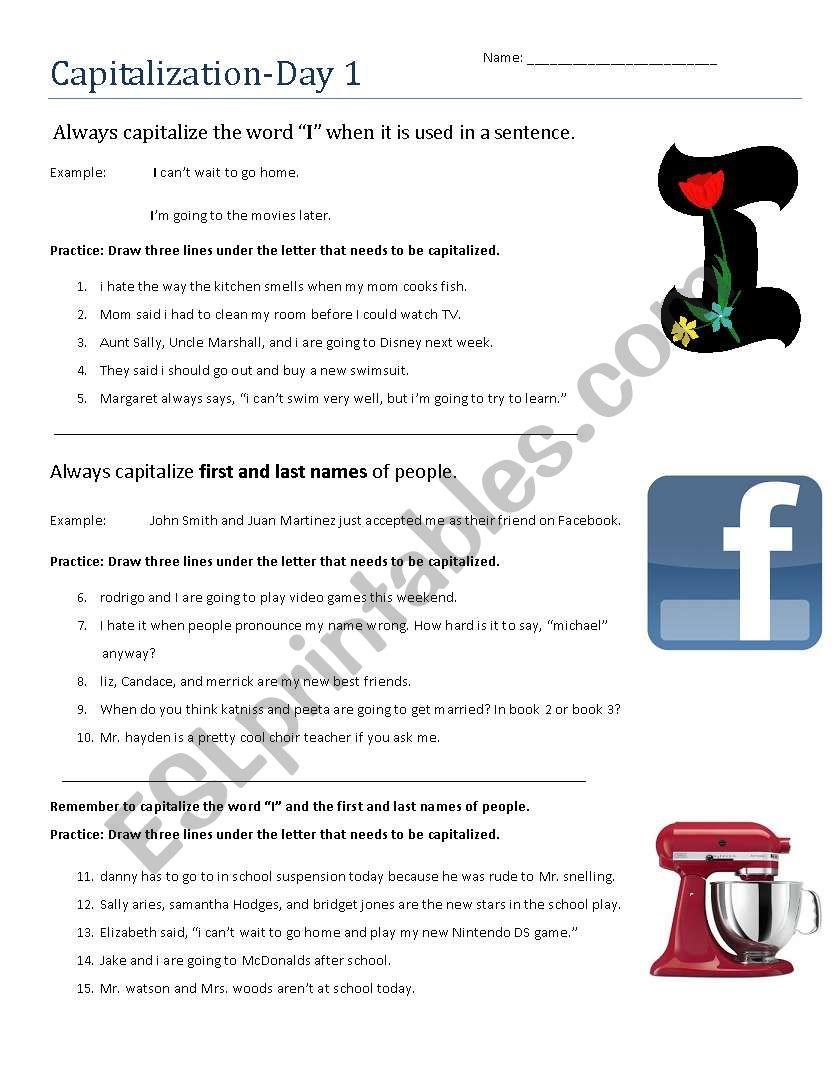 Capitalization Day 1 worksheet