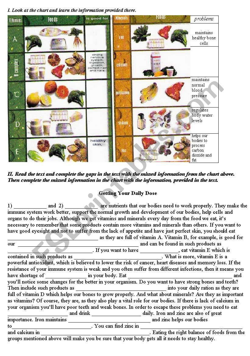 Vitamins and Minerals (Healthy Food) - ESL worksheet by Ann_85