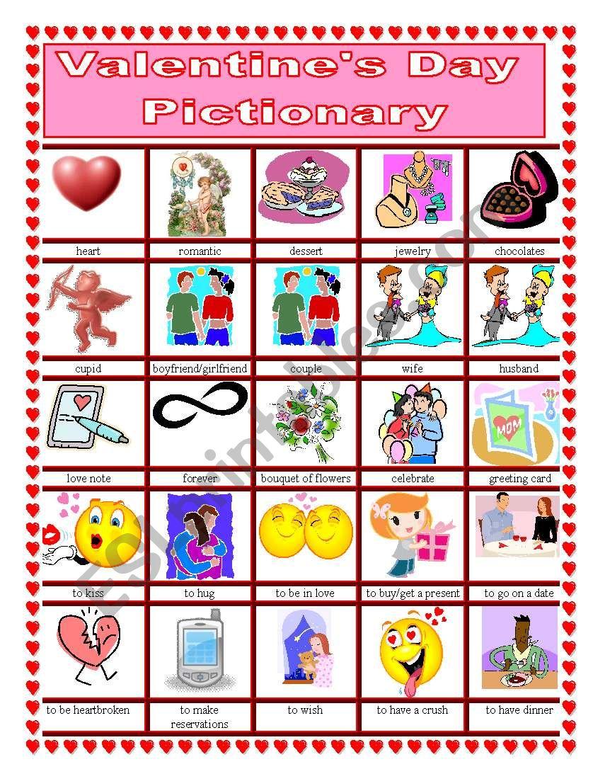 Valentine´s Day Pictionary worksheet