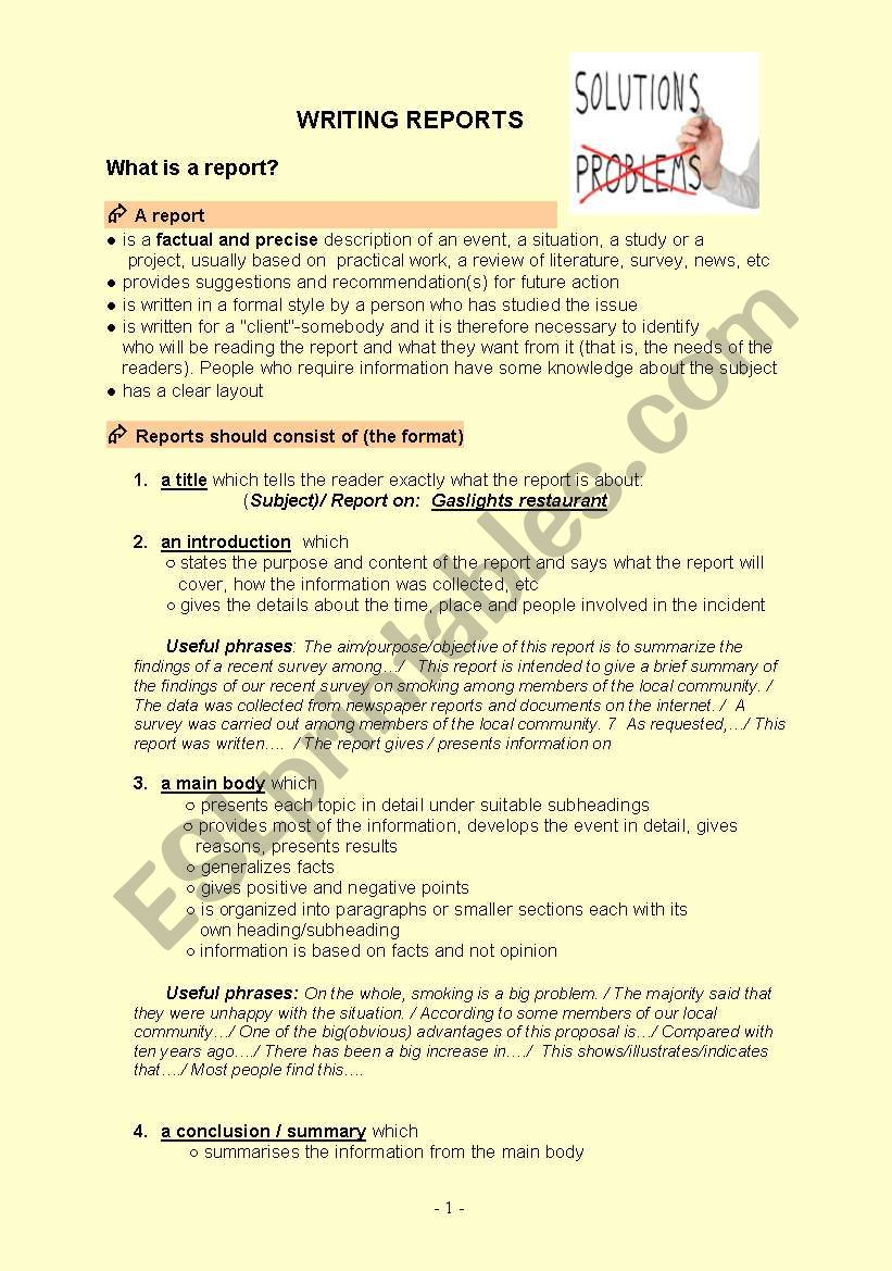 Writing reports worksheet