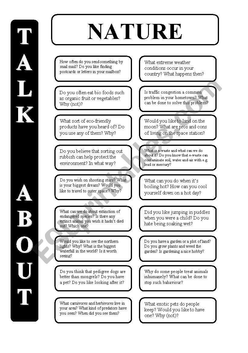 Nature - 18 conversation cards - upper-intermediate level