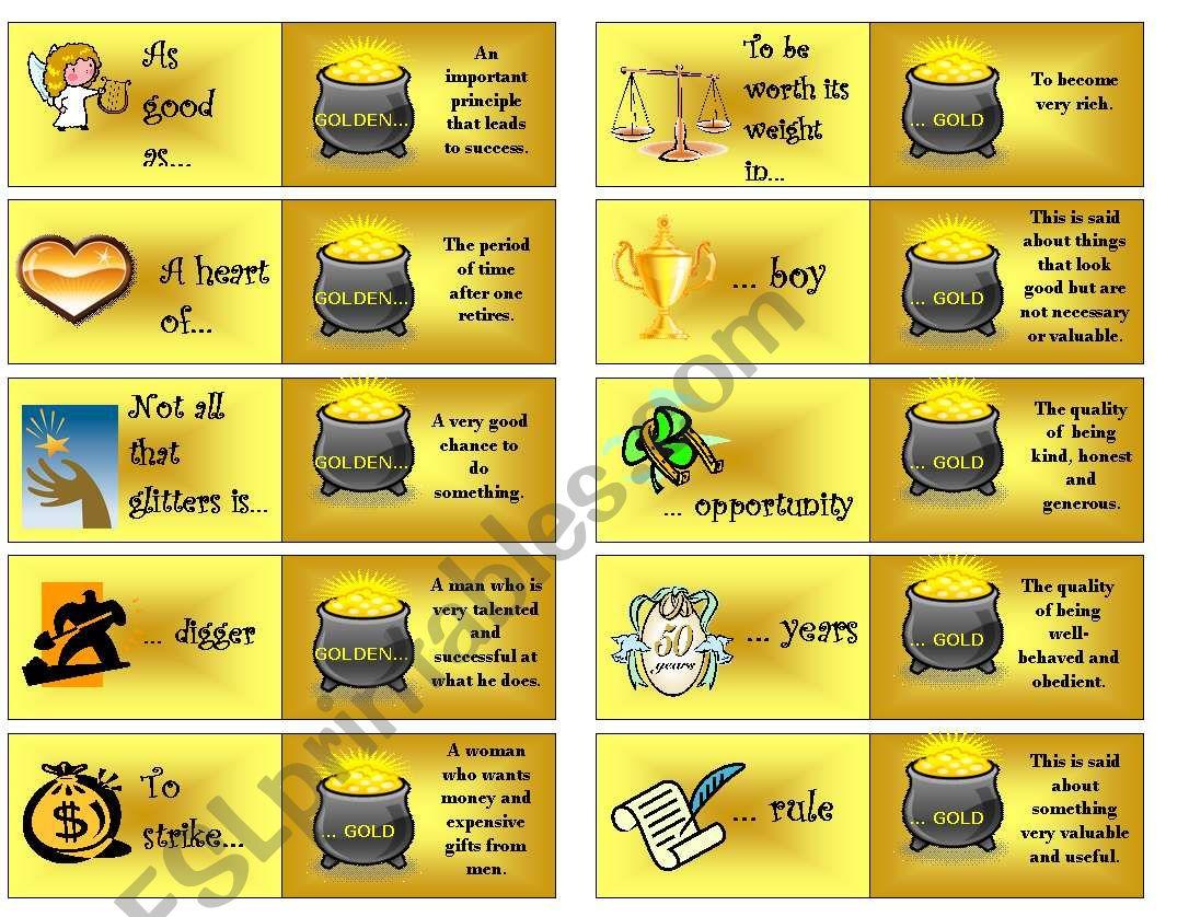 Gold phrases dominoes worksheet