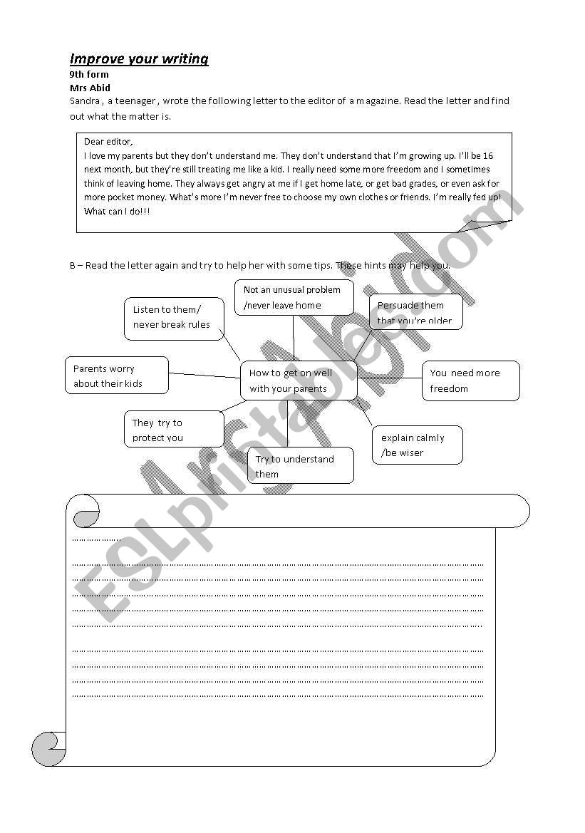 writing about family matters worksheet