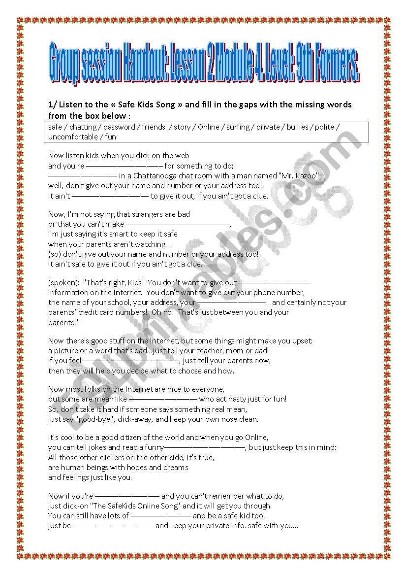 Internet Safety worksheet