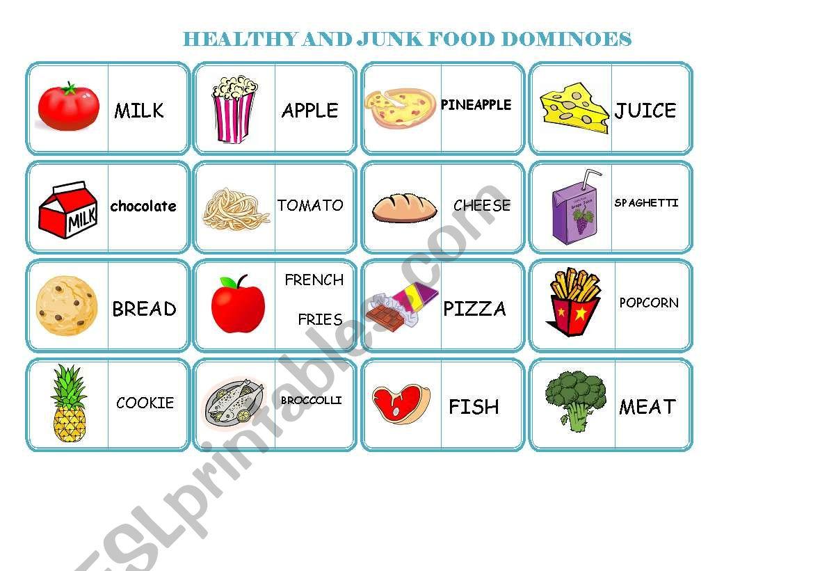 healthy and junk food dominoes