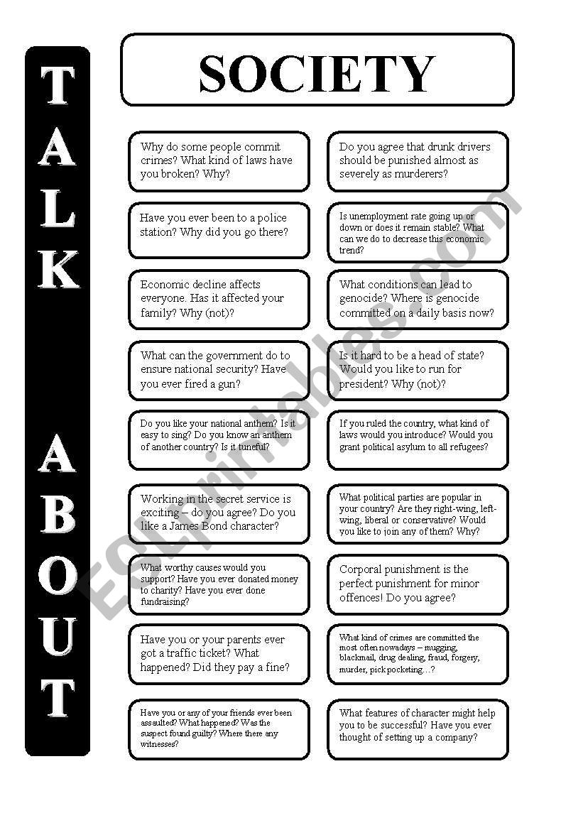 Society - 18 conversation cards - upper-intermediate level (editable)