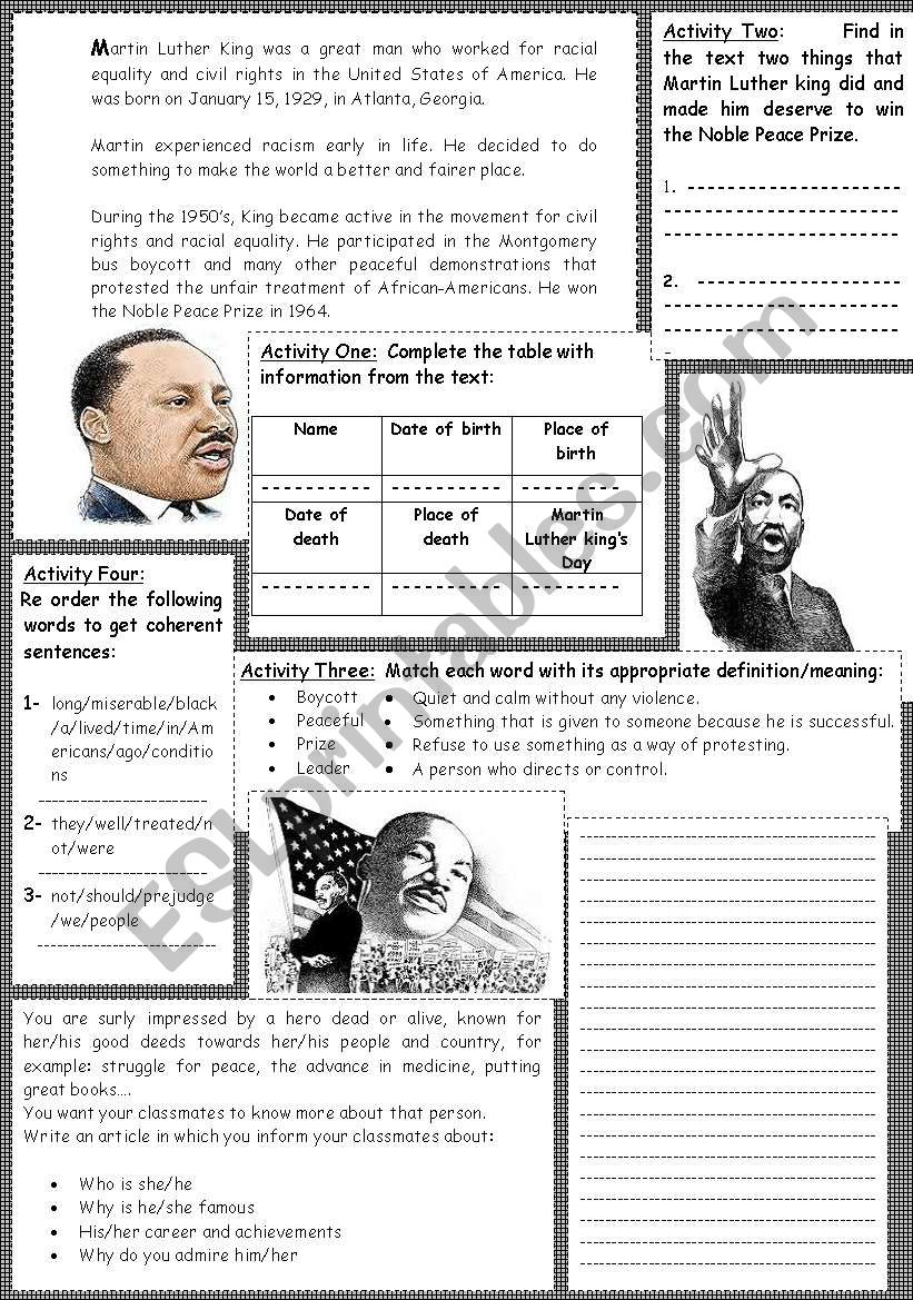 Martin Luther King: reading +  comprehension activities+ writing activity