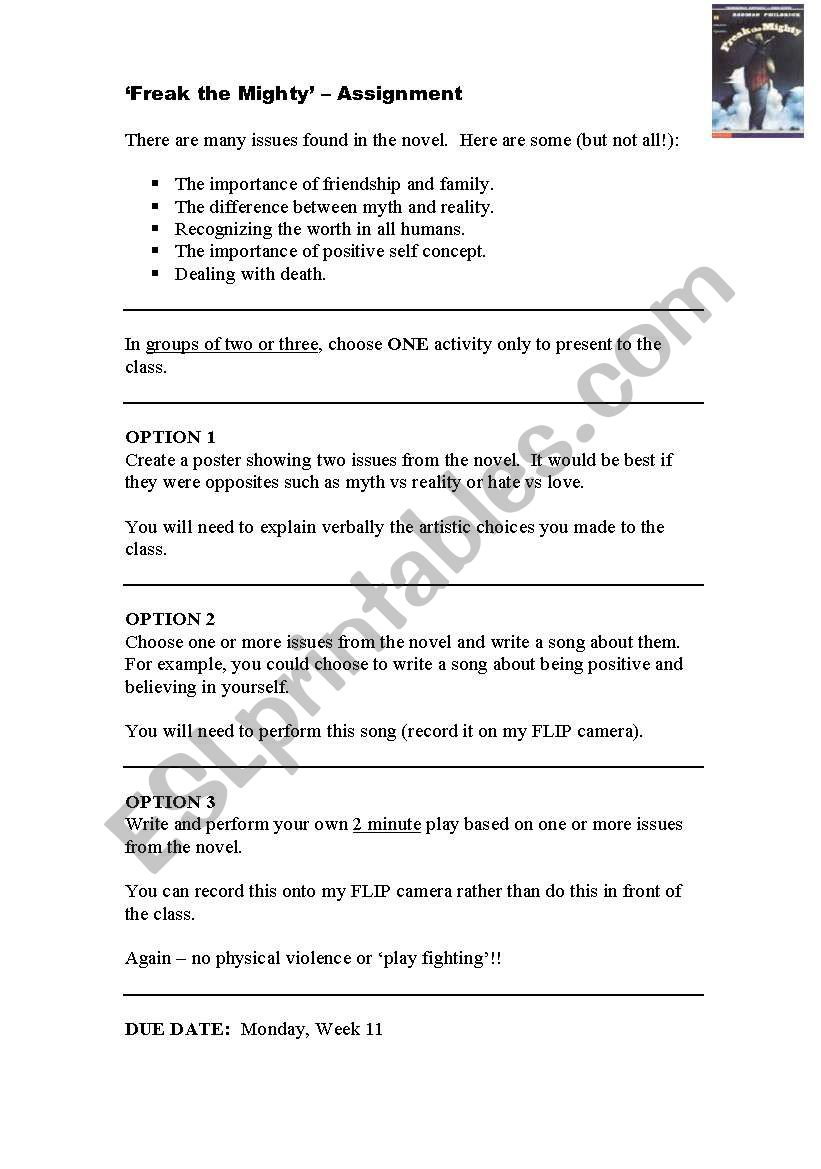 Worksheets Freak The Mighty Worksheets english worksheets freak the mighty creative worksheet worksheet