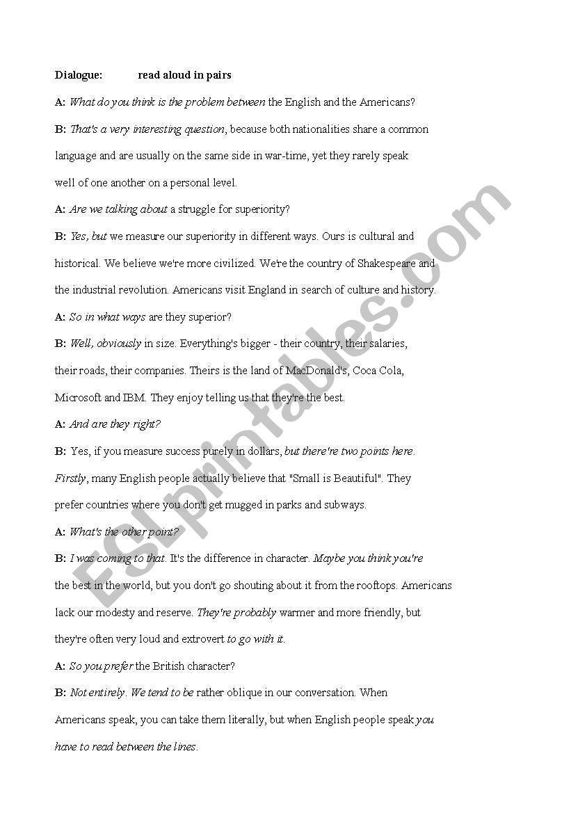 English and American culture worksheet