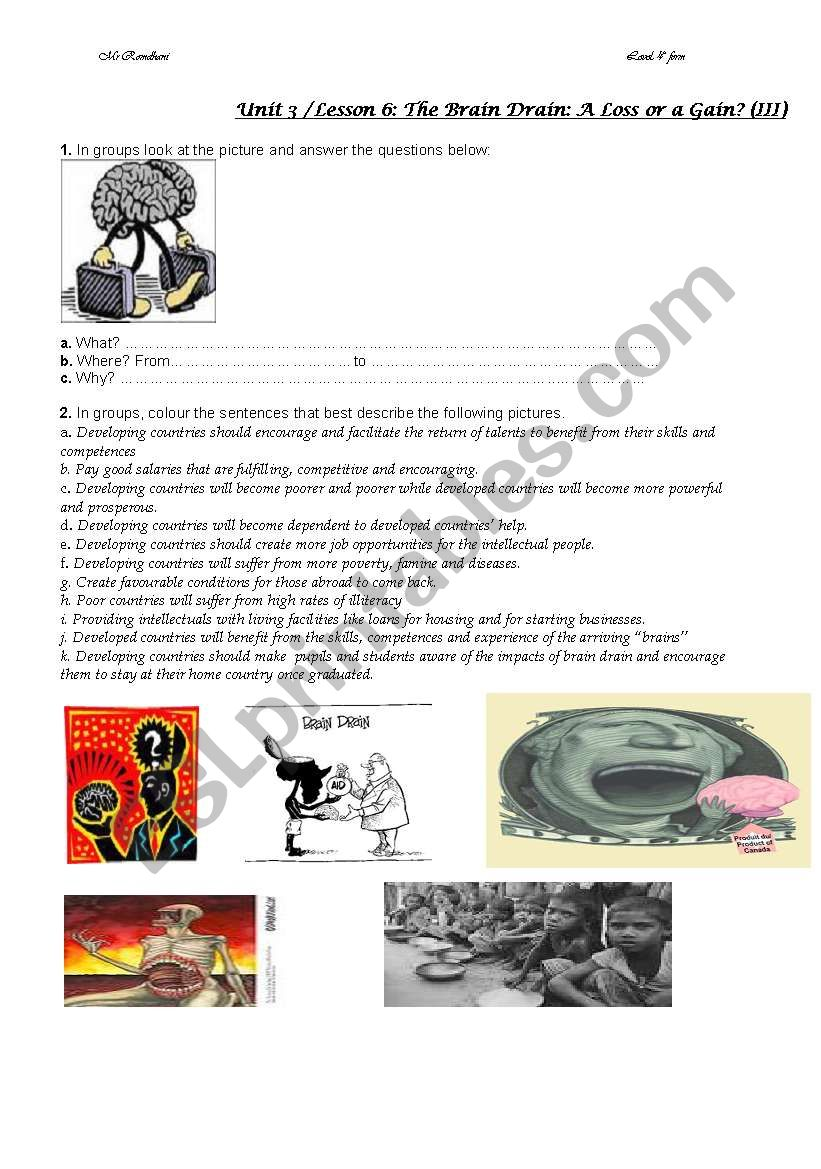 brain drain 2 worksheet