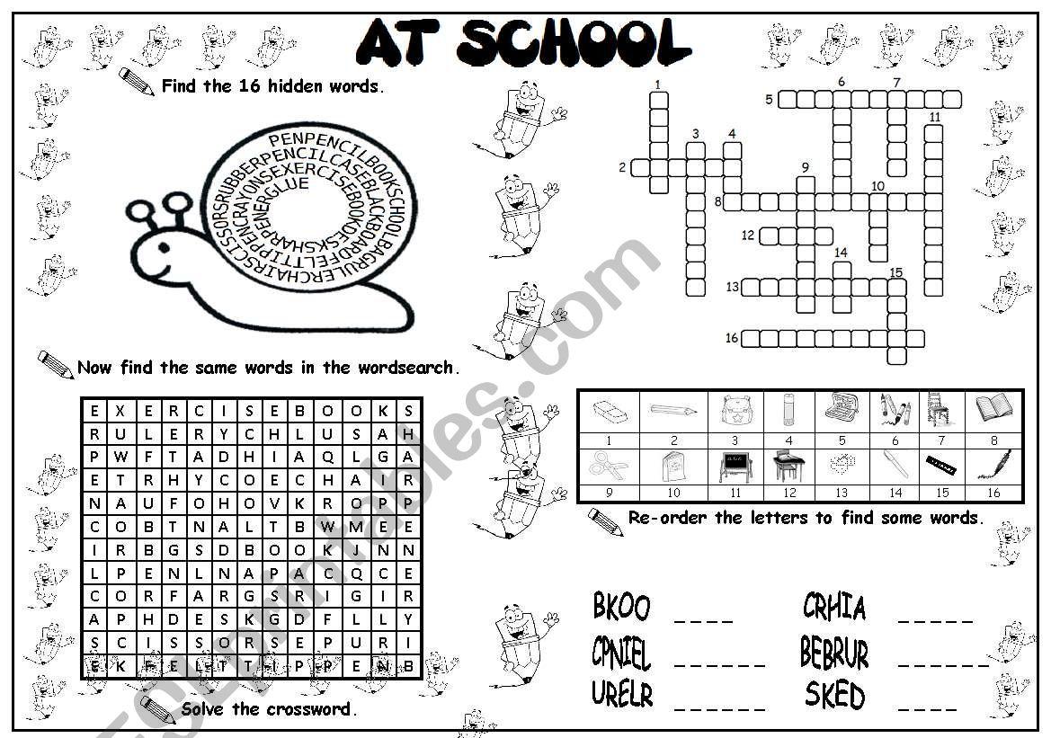 AT SCHOOL  worksheet