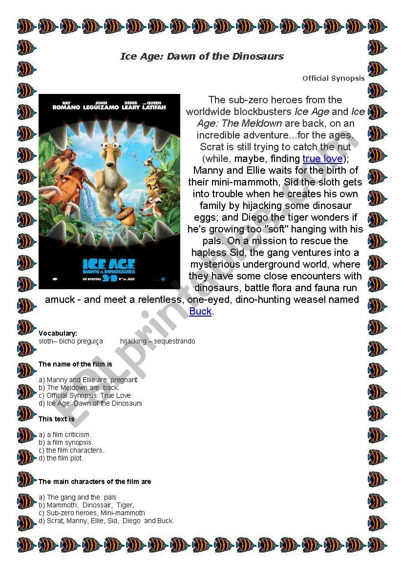 Exercice about film Ice Age - ESL worksheet by vanilda