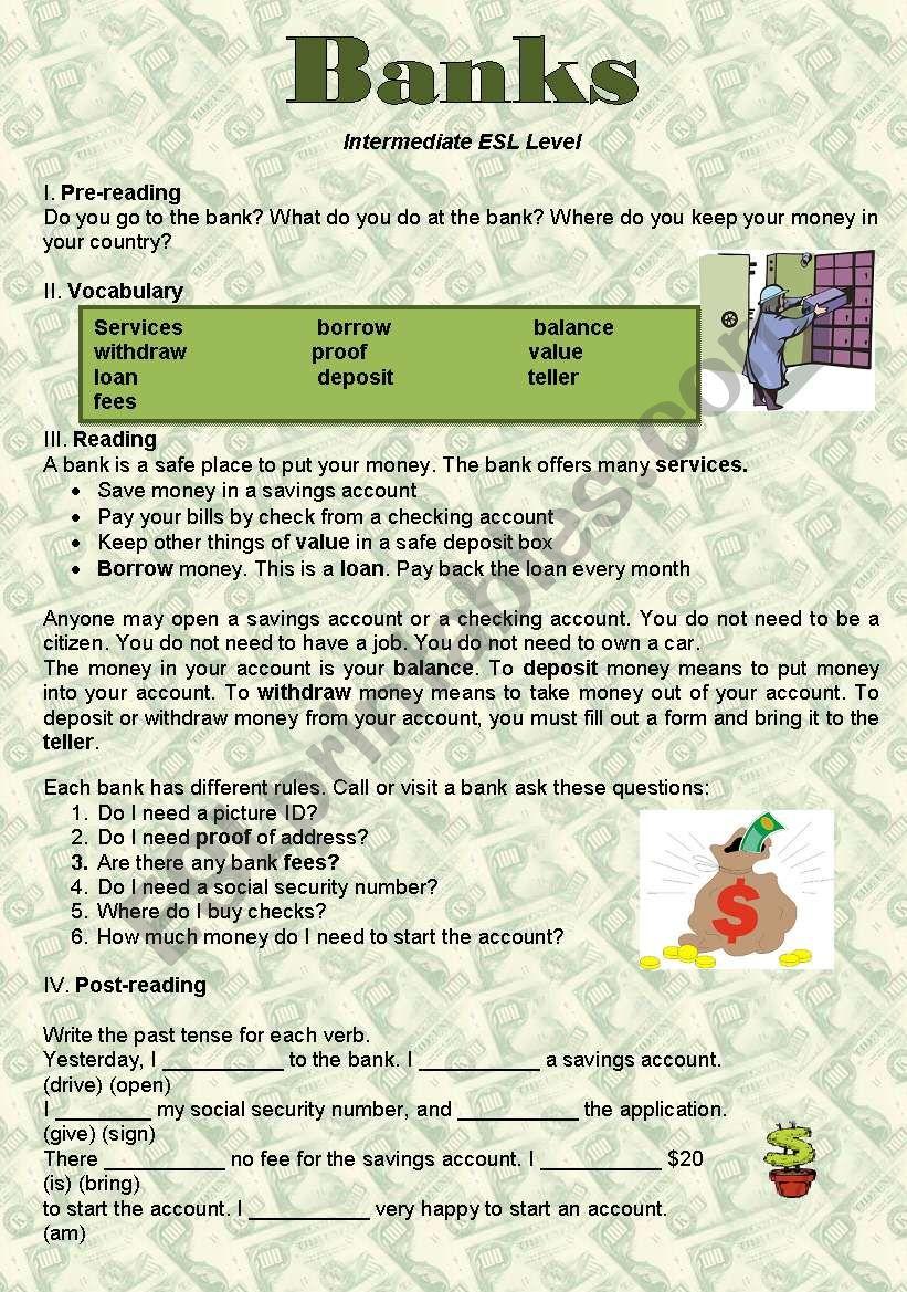 Banks worksheet