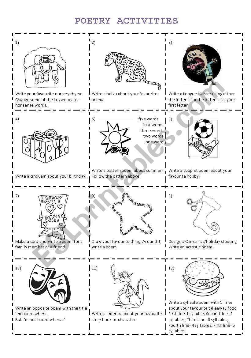 Poetry Activities  worksheet