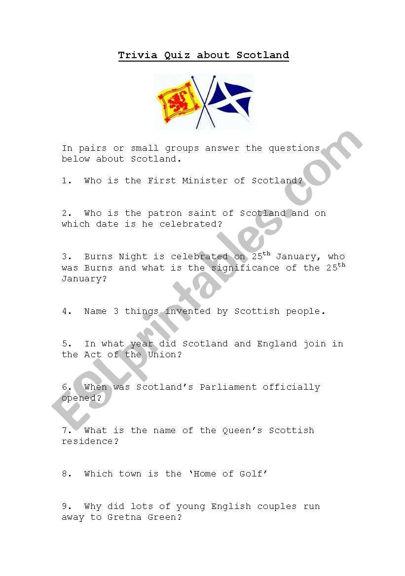 Scotland Quiz - ESL worksheet by kaz76
