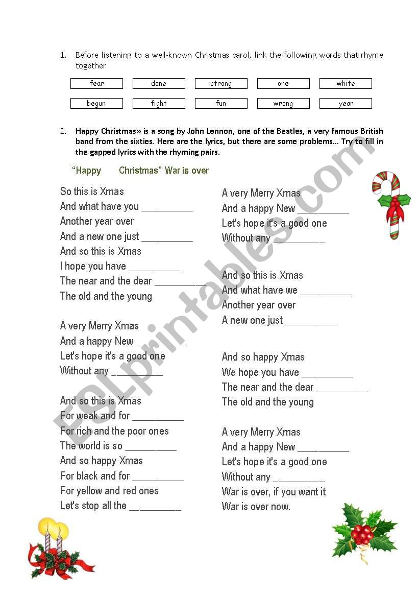 "English worksheets: John Lennon ""Happy Christmas"" War is over"