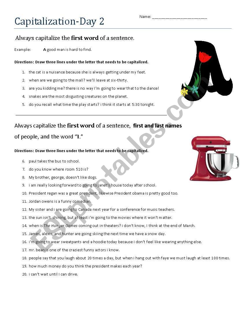 Capitalization Day 2 worksheet
